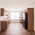kitchen with dark stained cabinets